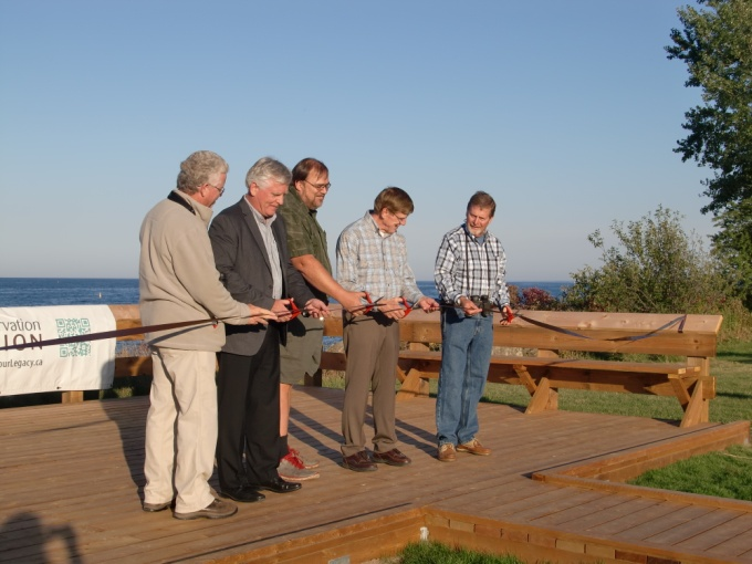Cutting the ribbon at the new bird lookout platform